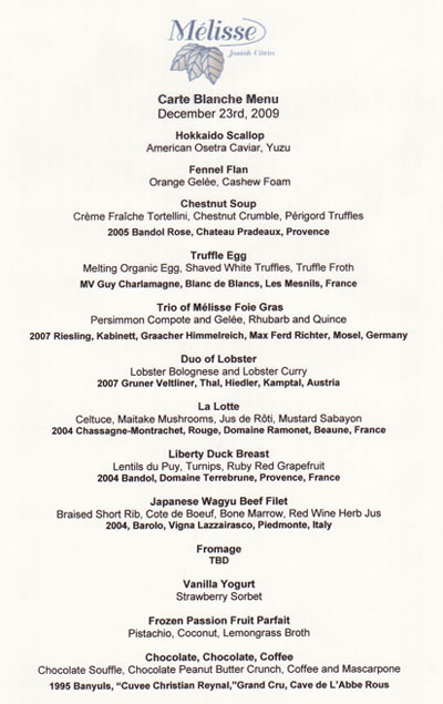 Carte blanche menu