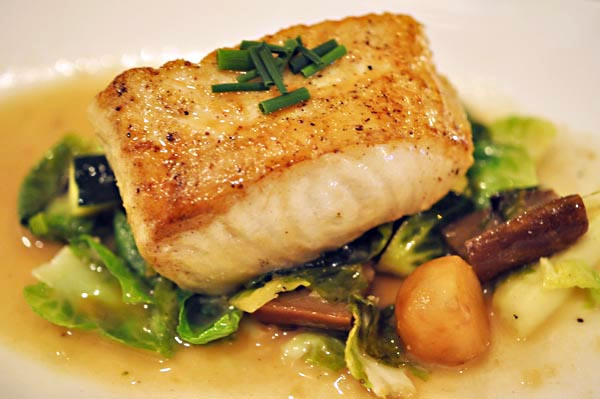 pan seared sea bass with brussel sprouts, eggplant, zucchini - $22)
